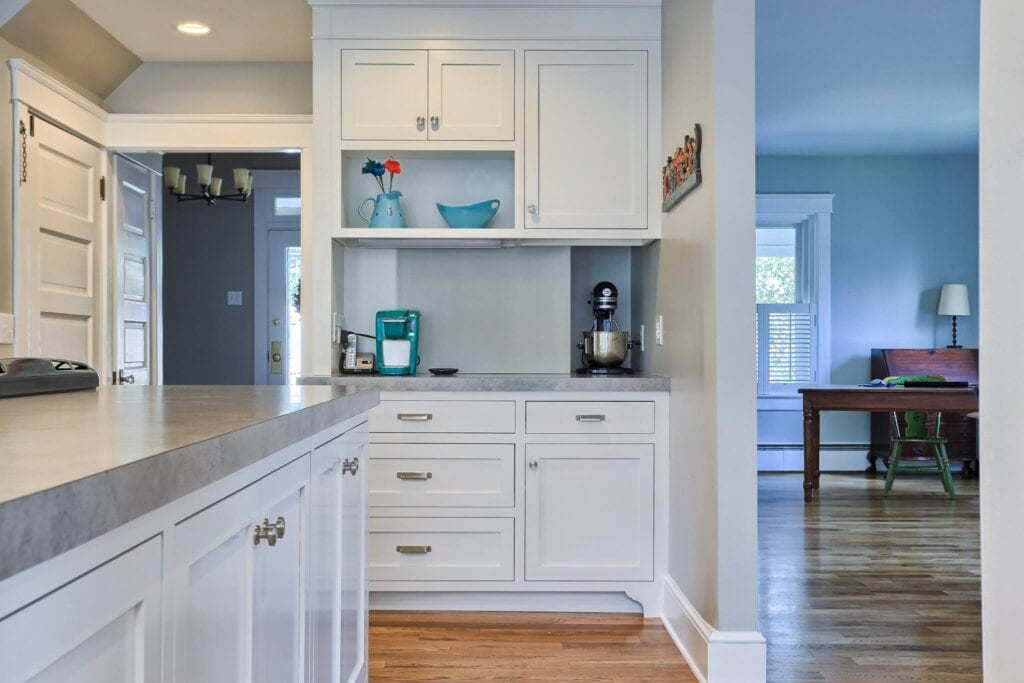 open kitchen with custom cabinetry