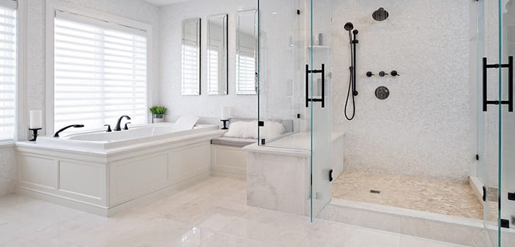 clean white bathroom with custom cabinetry